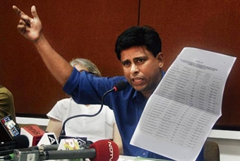 Arun Ferreira showing the list of 28 prisoners illegally arrested